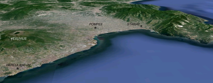 Looking towards the shoreline of the Bay of Naples; map imagery form Google Earth.